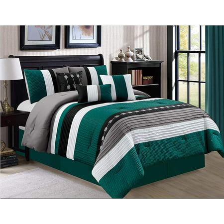 7 Piece Oversize Stripe Luxury Micofiber Bed in Bag Microfiber Comforter Set, Teal, (Luxury 10 Piece Bed)