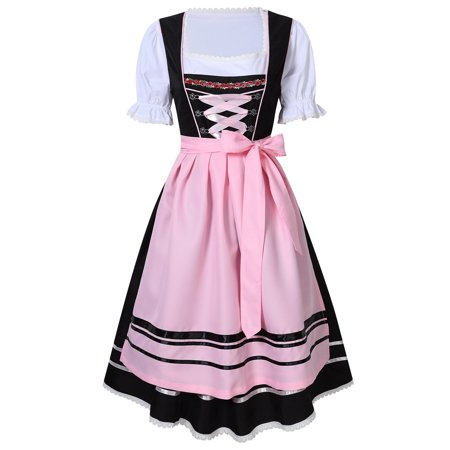 3-Piece Long German Oktoberfest Dirndl Dress, Black and Pink (Halloween Dirndl Dress)