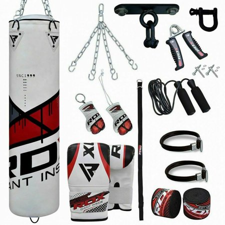 RDX Punching Bag Set Training Gloves Boxing Punch Chains Wall Bracket UNFILLED Red 4Ft 5Ft