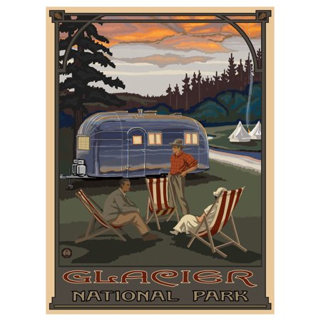 Glacier National Park, Montana Airstream Trailer Giclee Art Print Poster by Paul A. Lanquist (9