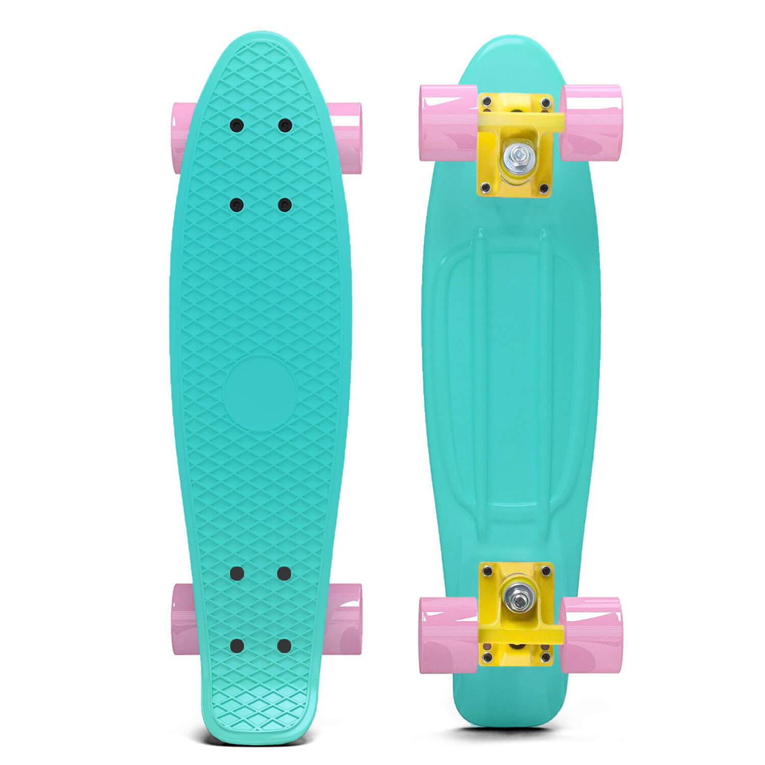 Pastel Penny Style Cruiser 22 inch Board Plastic Retro Mini Skateboard Complete, Turquoise by Scale Sports