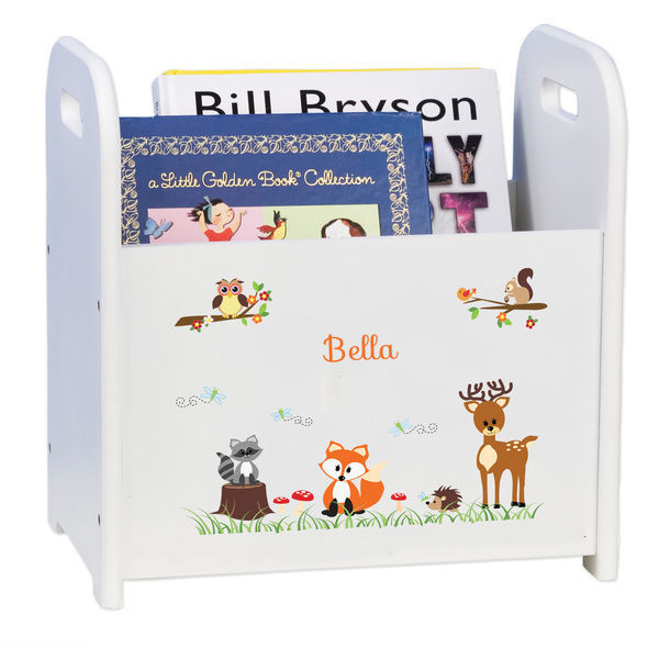 Personalized Coral Forest Animals White Book Caddy and Rack