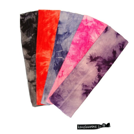 Kenz Laurenz Cotton Headbands 5 Soft Stretch Headband Sweat Absorbent Elastic Head Bands Tie Dye Set (Headband Set)