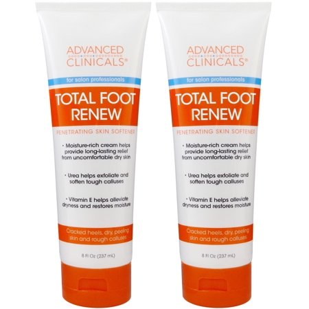 Advanced Clinicals Total Foot Renew Cream- Relief for Dry Itchy Skin, Tough Calluses, Cracked Heel. (Two -