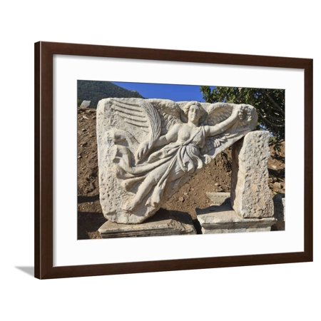 Relief of Nike, Winged Goddess of Victory, Roman Ruins of Ancient Ephesus Framed Print Wall Art By Eleanor