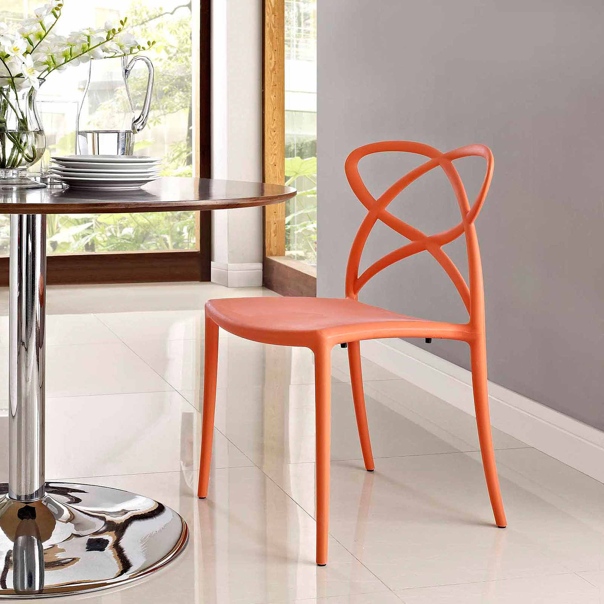 Modway Enact Stackable Assembled Dining Side Chair, Multiple Colors