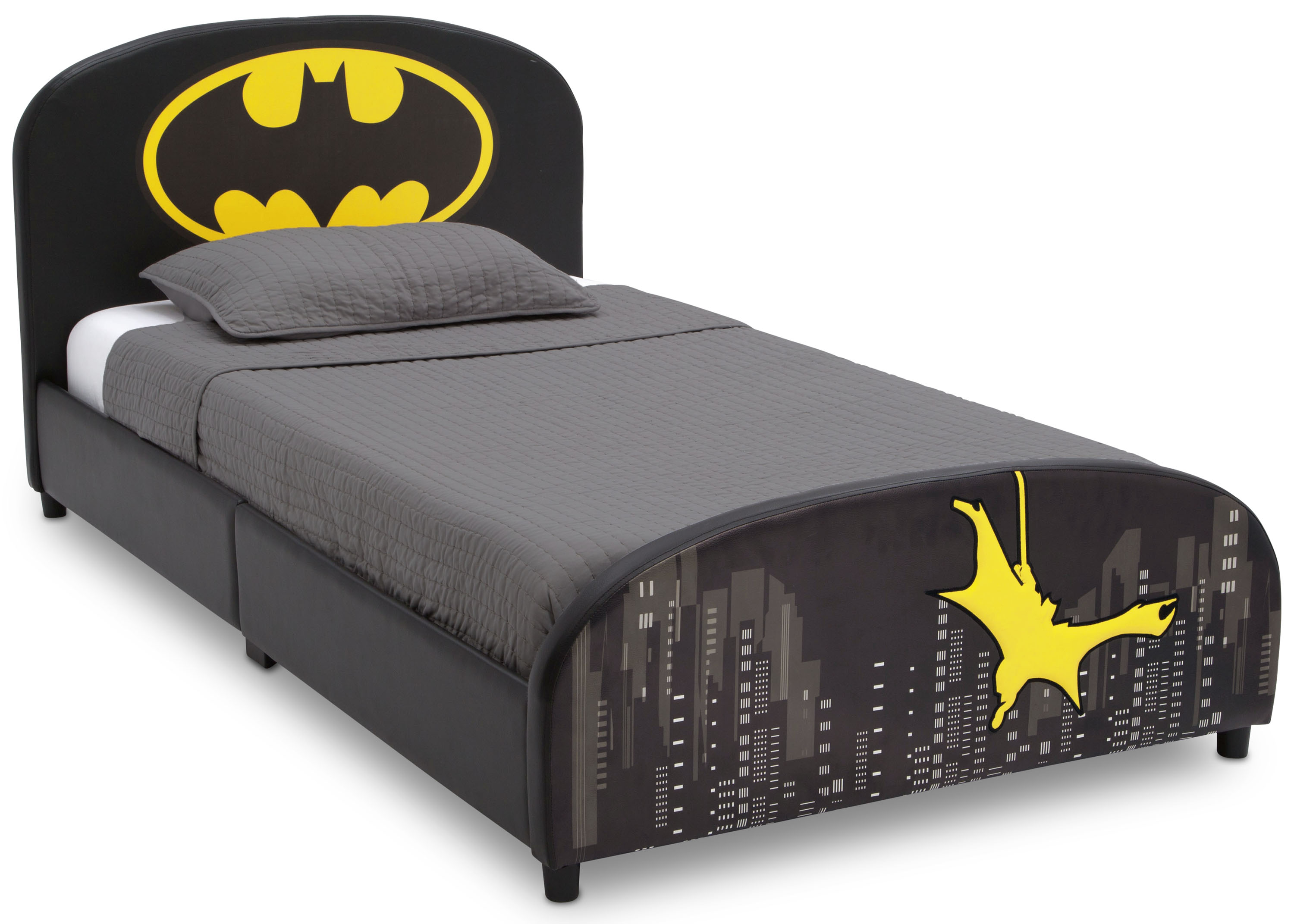 Delta Children DC Comics Batman Upholstered Twin Bed, Black