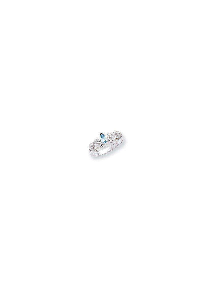 ICE CARATS 14kt White Gold 6x3mm Marquise Blue Topaz Diamond Band Ring Size 6.00 Stone Gemstone Fine Jewelry Ideal Gifts... by IceCarats Designer Jewelry Gift USA