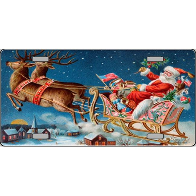 XMAS-12 Vintage Santa with Two -2 Reindeer Full Color License Plates