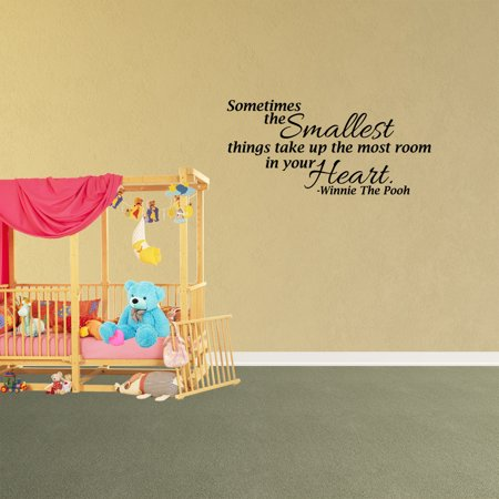 Wall Decal Quote Sometimes The Smallest Things Take Up The Most Room In Your Heart Winnie The Pooh Decor Inspirational Vinyl Sticker JP815](Winnie The Pooh Baby Shower Decorations)