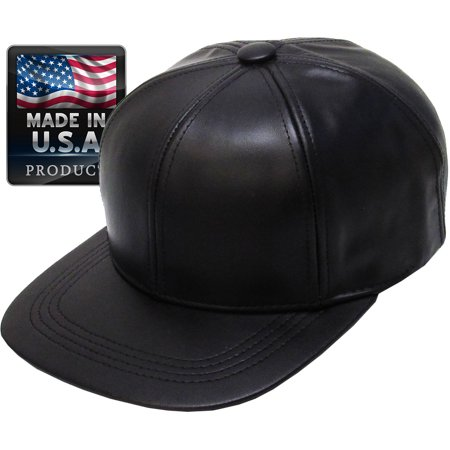 Leather Baseball Cap - MADE IN USA Genuine Leather Baseball Cap Adjustable Velcro Closure