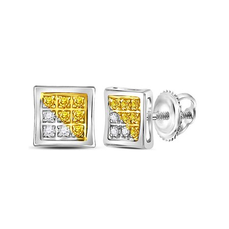 Sterling Silver Mens Round Yellow Color Enhanced Cer Diamond Earrings 1 20 Cttw