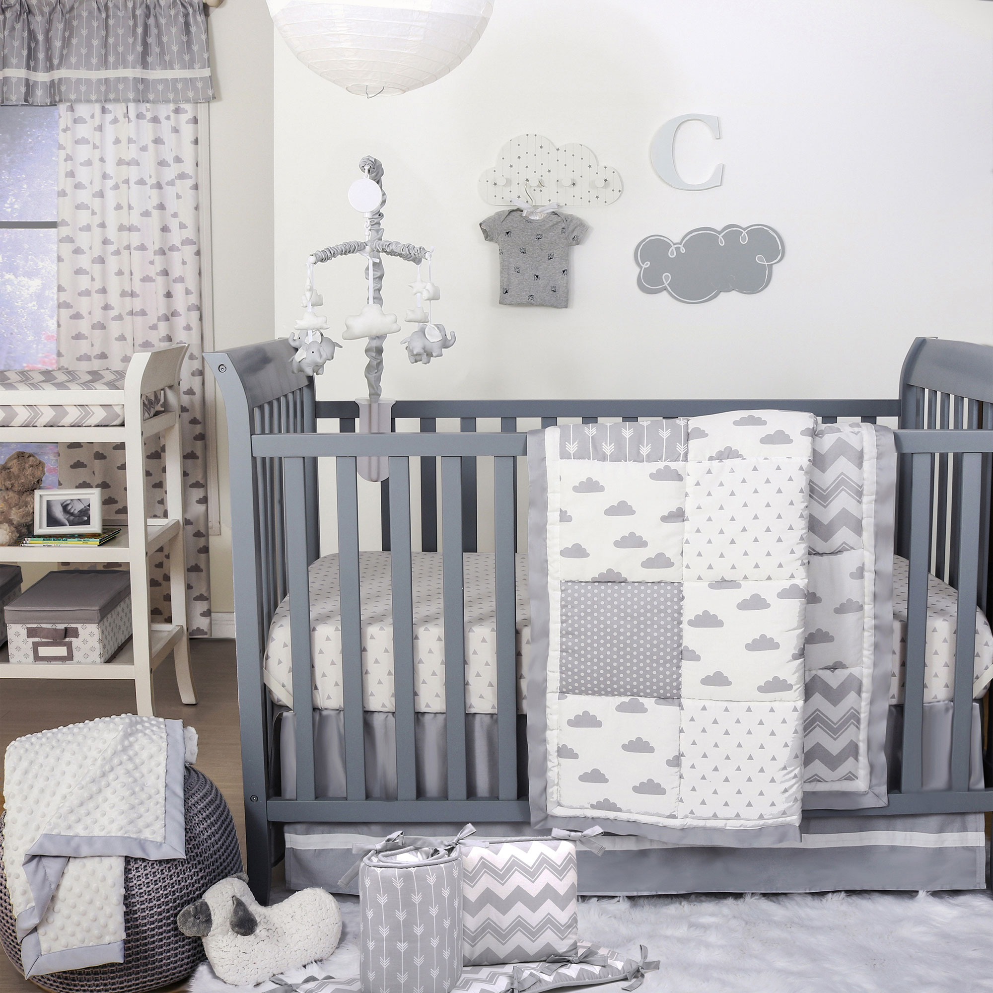The Peanut Shell 5 Piece Baby Crib Bedding Set - Grey Clouds, Confetti Dots,and Zig Zag Patchwork - 100% Cotton Quilt, Bumper, Dust Ruffle, Fitted Sheet, and Mobile