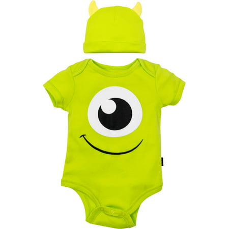 Disney Pixar Monsters Inc. Mike Wazowski Baby Costume Bodysuit and Hat Green (0-3 Months)
