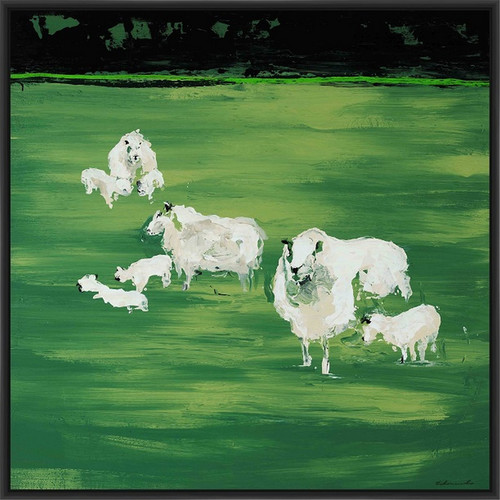 PTM Images Green Patch Framed Painting Print on Canvas