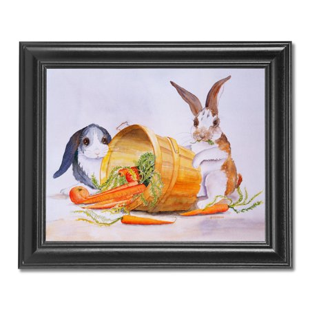 Two Bunny Rabbits Getting Carrots from Basket Wall Picture Black (Rabbit Photo Gift)