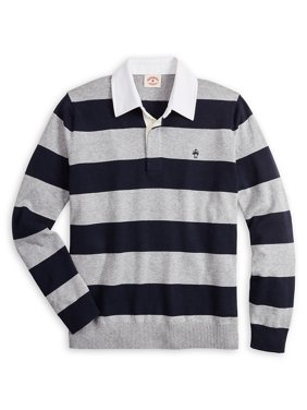 Striped Cotton & Cashmere Blend Rugby Shirt