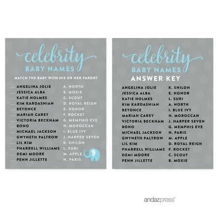 Celebrity Name Game Gray Boy Elephant Baby Shower Games , 20-Pack - 8 Year Old Games For Boys