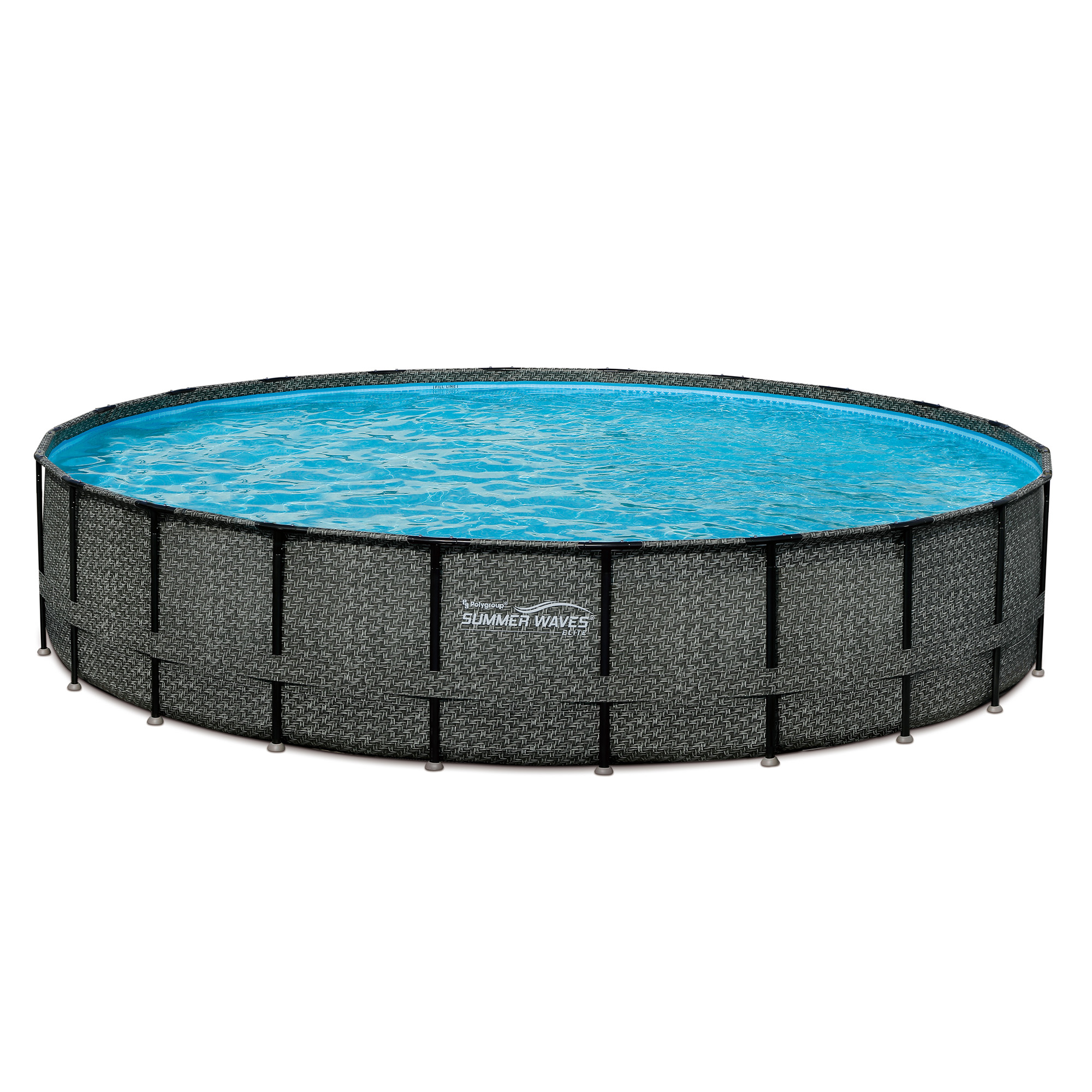 "Summer Waves Elite 22' x 52"" Premium Frame Above Ground Swimming Pool with Dark Wicker Print, Filter Pump System And Deluxe Accessory Set"
