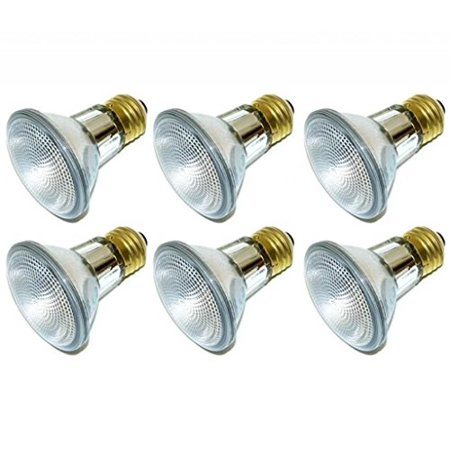Pack Of 6 39PAR20/FL 120V 39 Watt High Output (50W Replacement) 39W PAR20 Flood 120 Volt Halogen Par 20 Light Bulbs