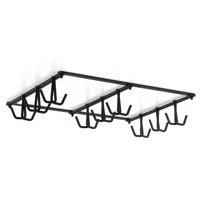 Wallniture Tasse Under Cabinet Mug Cup Holder Kitchen Utensil Holder with 18 Rotatable and Adjustable Hooks Metal Black