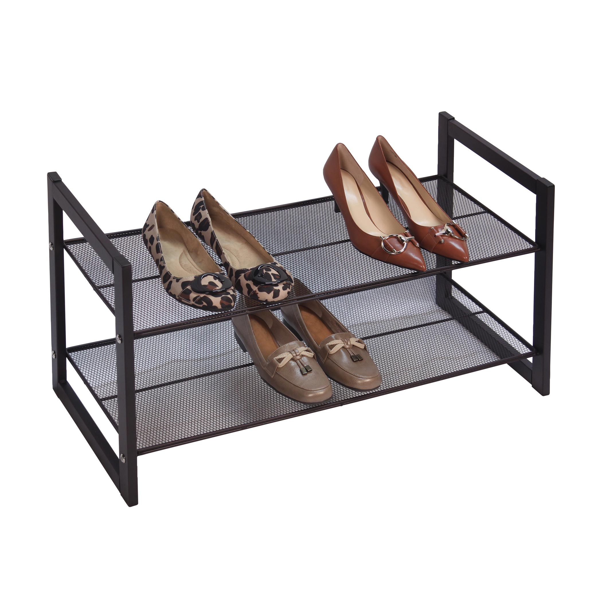 Bronze Angle Metallic 2 Tier Flat Stackable Shoe Rack