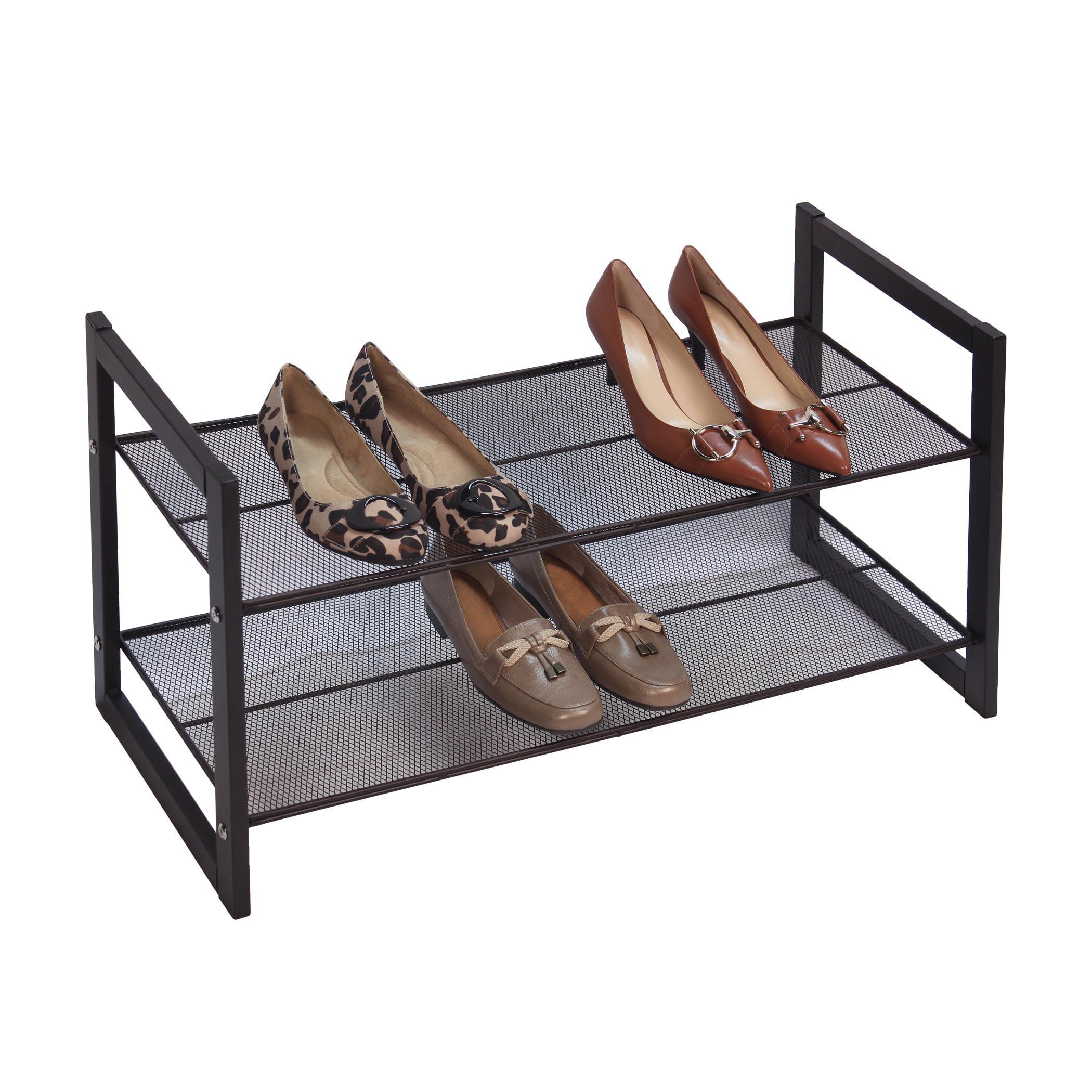 Bronze Angle Metallic 2 Tier Flat Stackable Shoe Rack