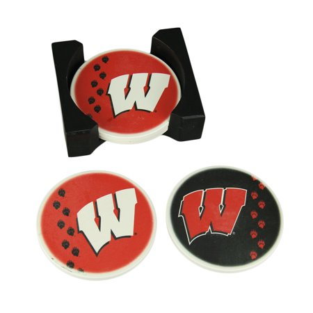 University of Wisconsin Badgers 4 Piece Absorbent Coaster Set With Caddy