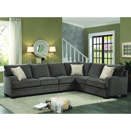 Homelegance Alamosa 4 Piece Sectional Sofa In Brown Chenille