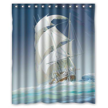 ARTJIA Sailboat Shower Curtain 60x72 Inches