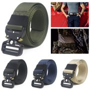 LNKOO Men's Tactical Belt, Military Style Webbing Riggers Web Belt Heavy-Duty Quick-Release Metal Buckle Nylon Belts for Men