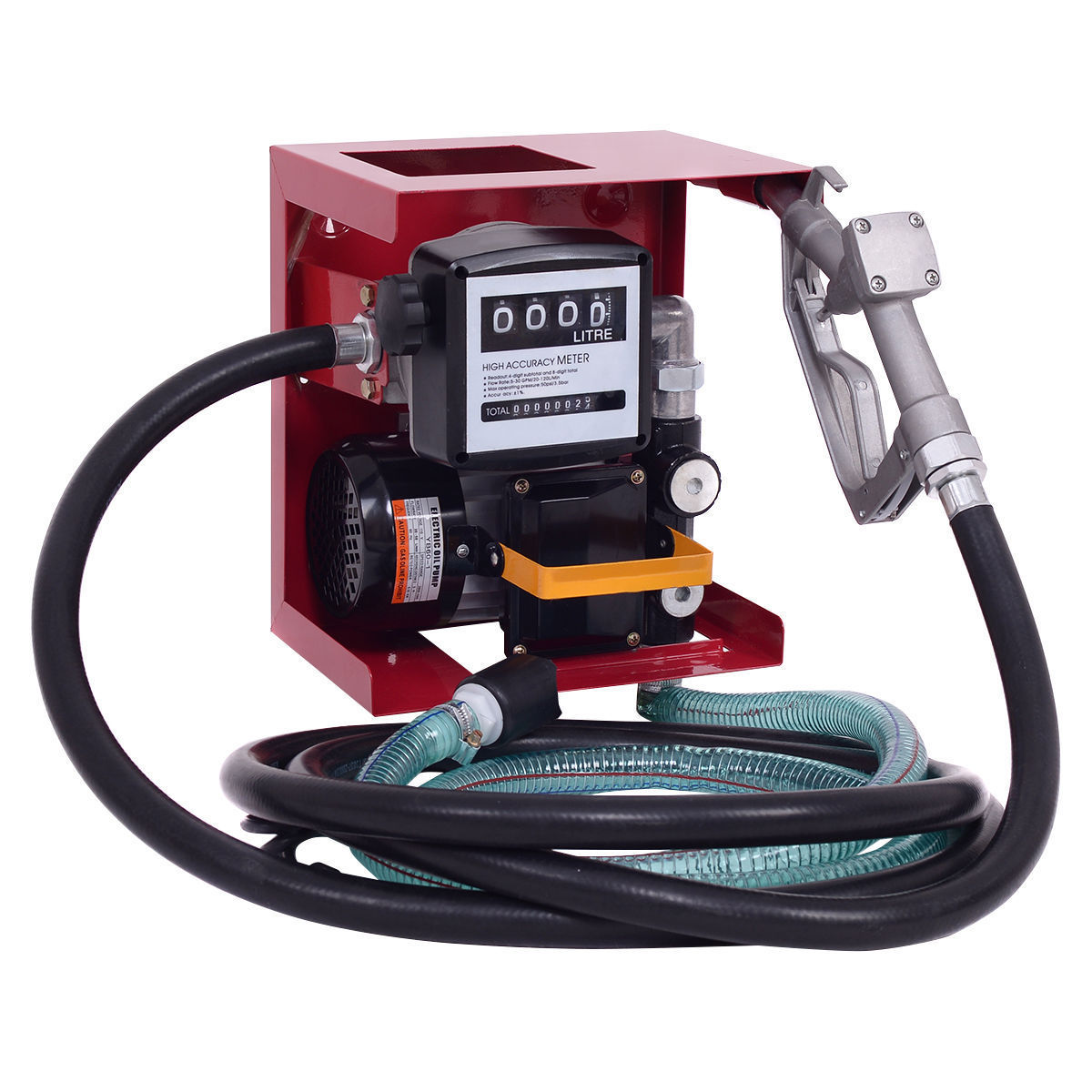 Costway 110V Electric Diesel Oil Fuel Transfer Pump w/ Meter +13' Hose & Nozzle New