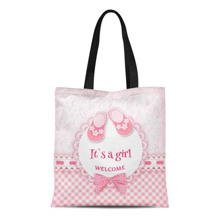 ASHLEIGH Canvas Tote Bag Pink Girl Baby Birth Ribbon Born Child Album Arrival Durable Reusable Shopping Shoulder Grocery Bag
