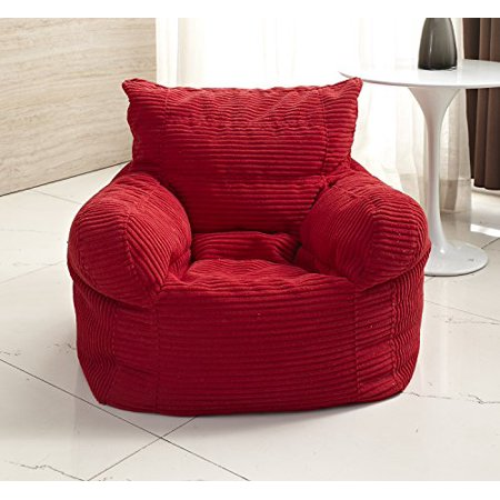 small corduroy arm chair bean bag red. Black Bedroom Furniture Sets. Home Design Ideas