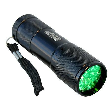 HQRP Green Light 9 LED Portable / Pocket Flashlight Black Aluminum Body for Night Walking / Hunting / Fishing / Scorpions Searching / Night