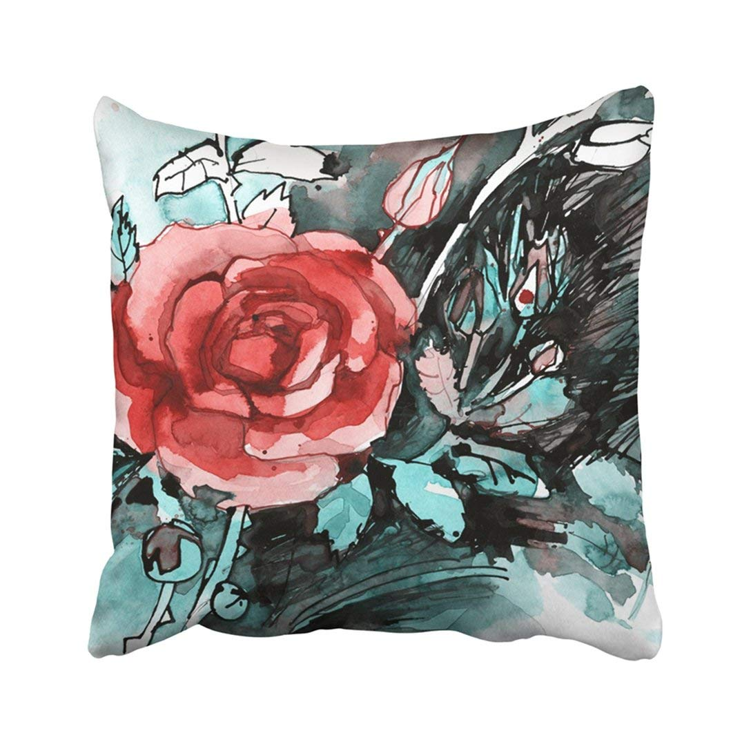 WOPOP Green Anniversary Freehand Pink Rose Flower Bouquet White Yellow Beauty Bloom Blossom Pillowcase Throw Pillow Cover 18x18 inches