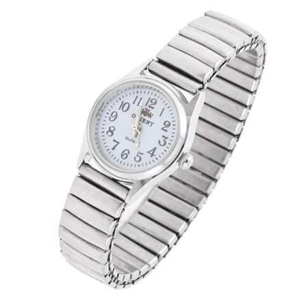 Arabic Number Diaplay Round Dial Quartz Wrist Watch Silver Tone for Women (Silver Tone Italian Charm Watch)