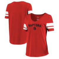 Toronto Raptors Let Loose by RNL Women's Scramble Two Stripe Tri-Blend T-Shirt - Red