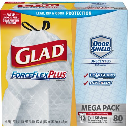 Glad Tall Kitchen Drawstring Trash Bags - ForceFlexPlus 13 gal White Trash Bag, OdorShield - 80 (Glad Tall Kitchen Drawstring)