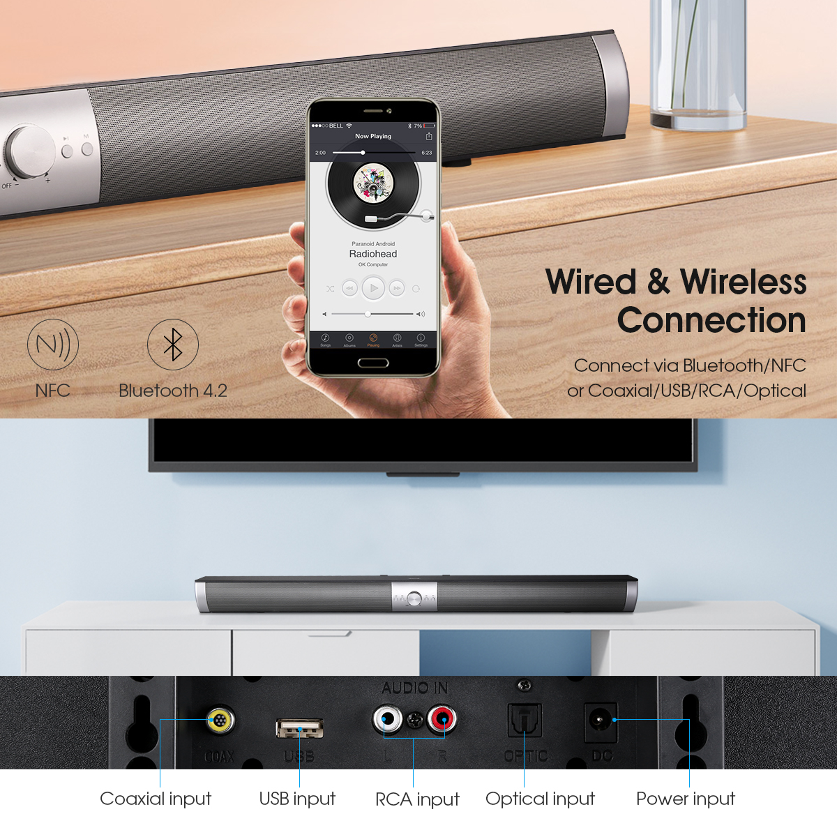 Sound Bar with Subwoofer, Bluetoth TV Soundbar Speaker System, Optical Input