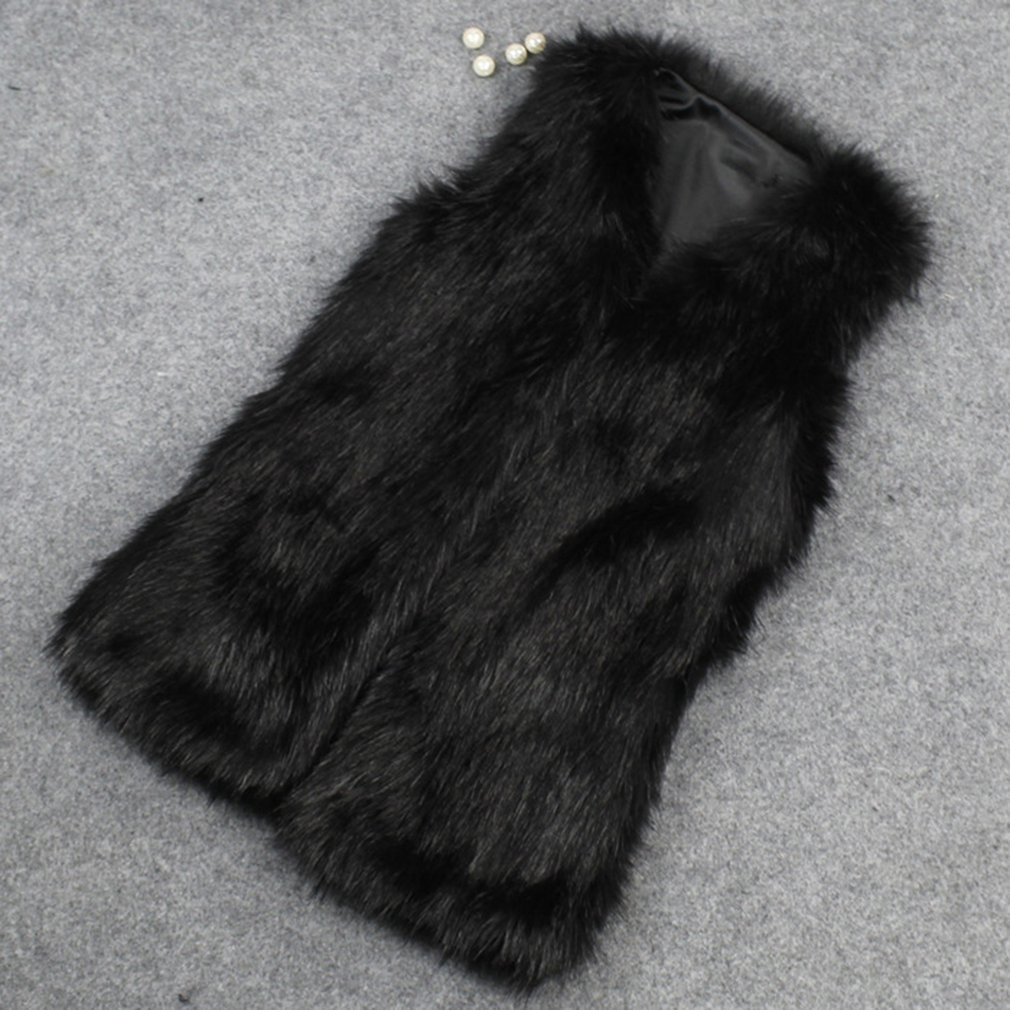 New Lady Faux Fur Sleeveless Vest Waistcoat Gilet Wrap Shrug Jacket Coat Outwear