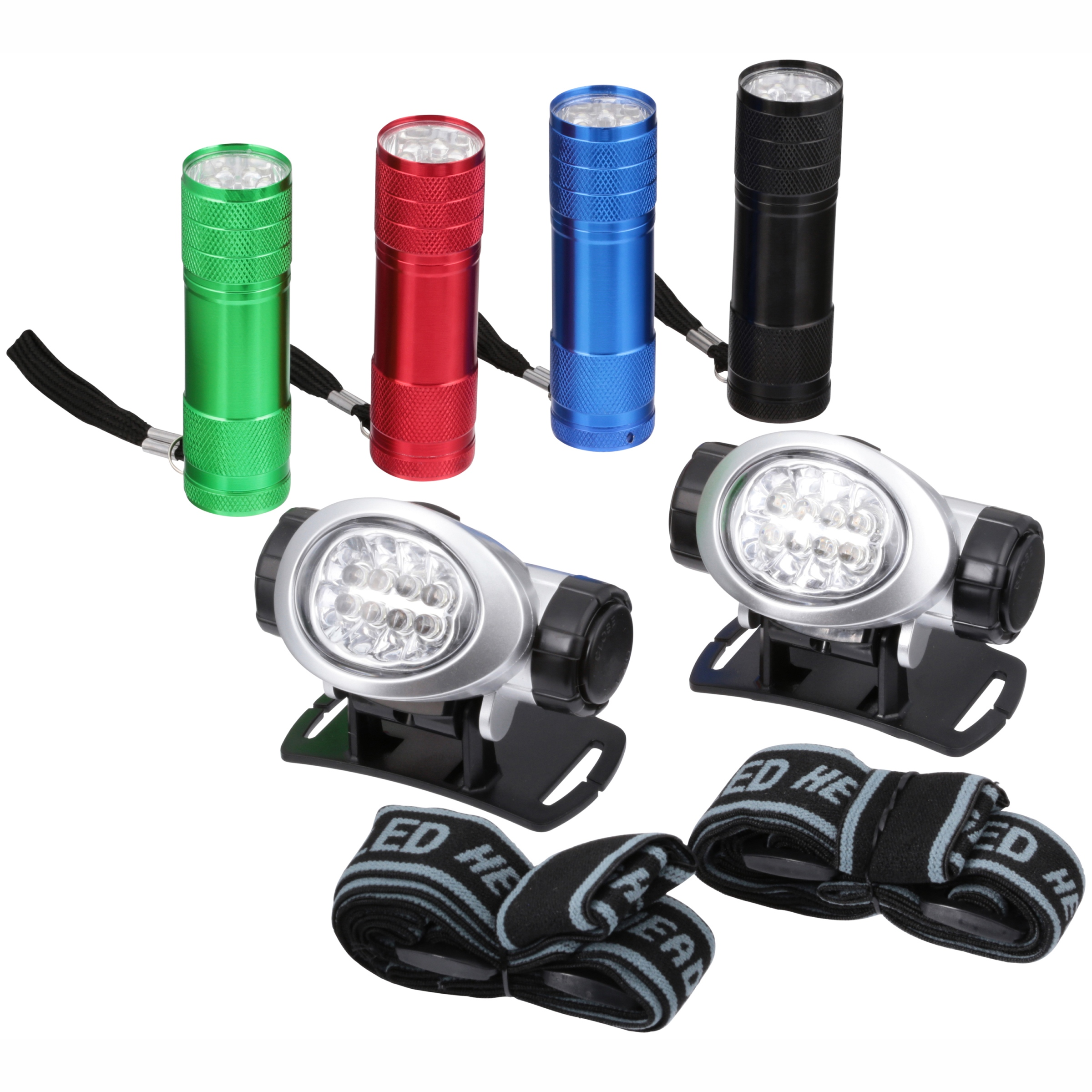 Ozark Trail�� Outdoor Equipment LED Flashlights & Headlamps Combo with Batteries Variety Pack 6 pc Carded Pack