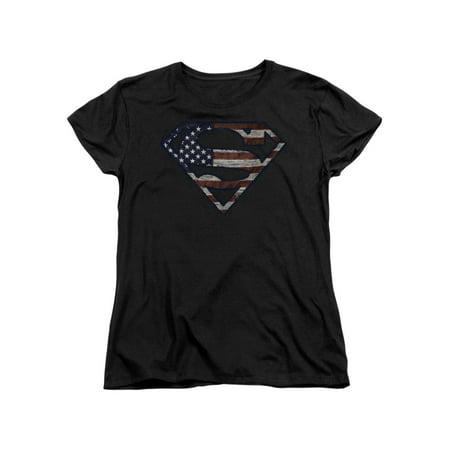 Superman DC Comics Superhero Wartorn Flag S Shield Logo Women's T-Shirt (Superhero T Shirts Women's)