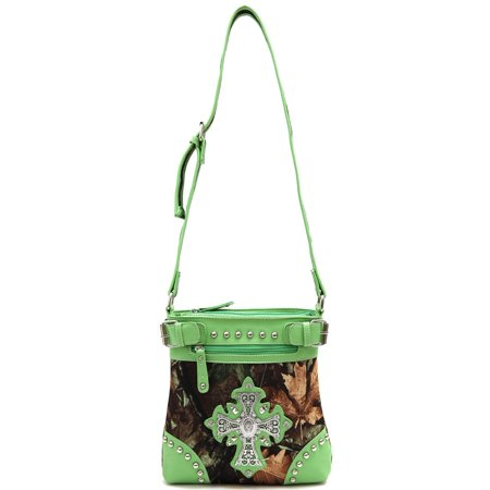 Pink Purse Gift Box - Womens Forest Cross PU Leather Fashion Shoulder Bag Elegant Purse Lime Color