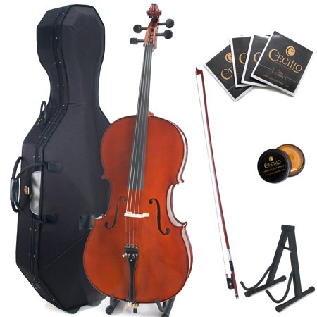 Cecilio Cco 500 Ebony Fitted Flamed Solid Wood Cello With Hard And Soft Case  Stand  Extra Strings  Bow  Rosin And Bridge  Full Size 4 4