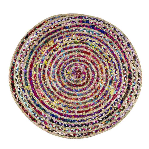 Astoria Natural Hemp and Dyed Chindi Braided Round Rug, Multi-Color, 3' Diameter