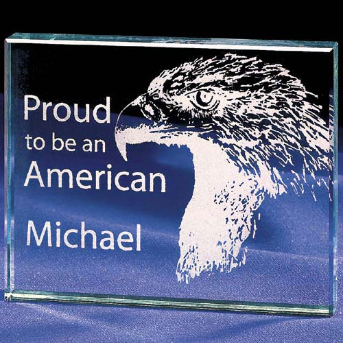 "Personalized ""Proud to be an American"" Glass Paperweight"