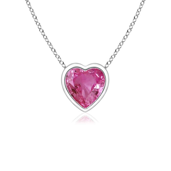 Angara Bezel-Set Solitaire Heart Pink Sapphire Pendant kCwXpy