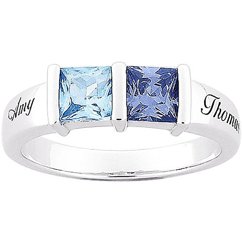 Personalized Sterling Silver Couple's Square Birthstone Name Ring