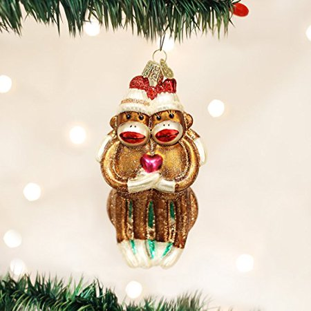 Old World Christmas Sock Monkey Pair Glass Blown Ornament